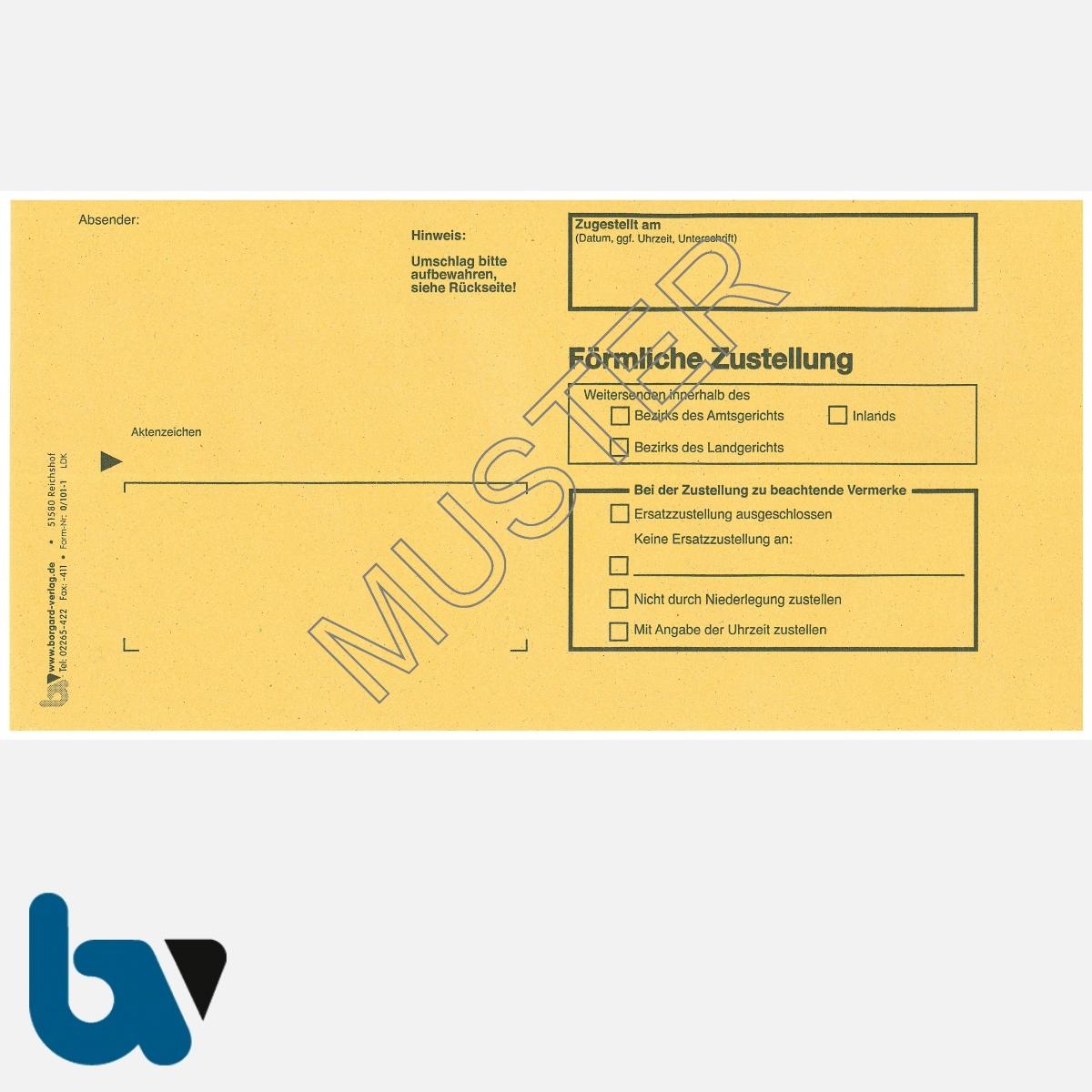 0/101-1 Förmliche Zustellung - Innerer Umschlag, DIN lang, ohne Fenster, haftklebend, Vorderseite | Borgard Verlag GmbH