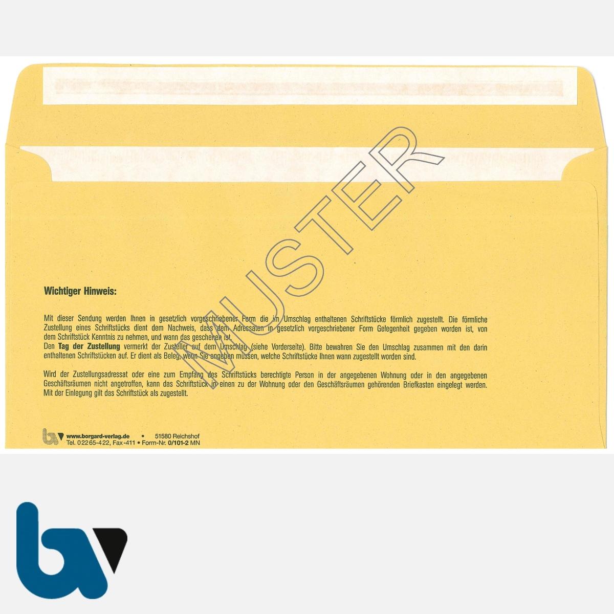 0/101-2a Förmliche Zustellung - Innerer Umschlag, DIN lang, mit Fenster, haftklebend, mit Kohlepapier, Durchschreibeverfahren, Rückseite | Borgard Verlag GmbH