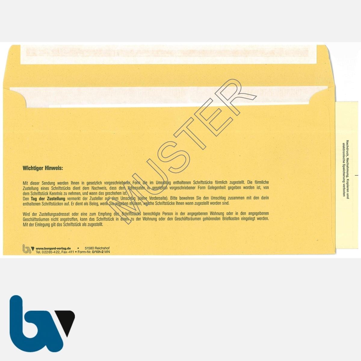 0/101-2 Durchschreibesatz - Förmliche Zustellung, Innerer Umschlag, DIN lang, mit eingelegter Postzustellungsurkunde, Rückseite | Borgard Verlag GmbH