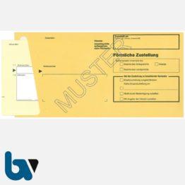 0/101-2 Durchschreibesatz - Förmliche Zustellung, Innerer Umschlag, DIN lang, mit eingelegter Postzustellungsurkunde, Vorderseite | Borgard Verlag GmbH