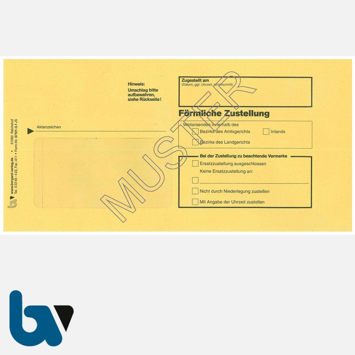 0/101-3.1 Förrmliche Zustellung - Innerer Umschlag, DIN lang, mit Fenster, nassklebend, gummiert, Vorderseite | Borgard Verlag GmbH