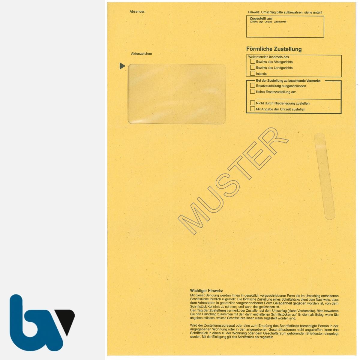 0/101-4.2-Förmliche Zustellung - Innerer Umschlag, DIN C4, mit Fenster, nassklebend, Vorderseite | Borgard Verlag GmbH