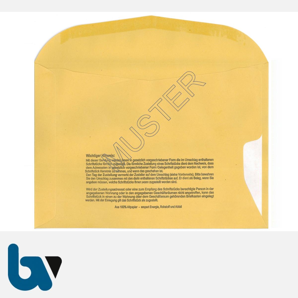 0/101-5.1 Förmliche Zustellung - Innerer Umschlag, DIN C5, mit Fenster, nassklebend, Rückseite | Borgard Verlag GmbH