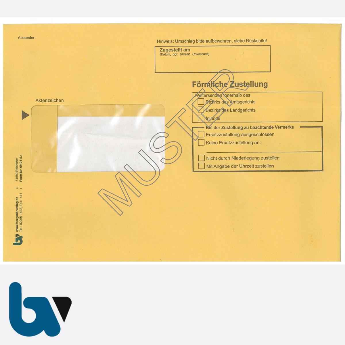 0/101-5.1 Förmliche Zustellung - Innerer Umschlag, DIN C5, mit Fenster, nassklebend, Vorderseite | Borgard Verlag GmbH