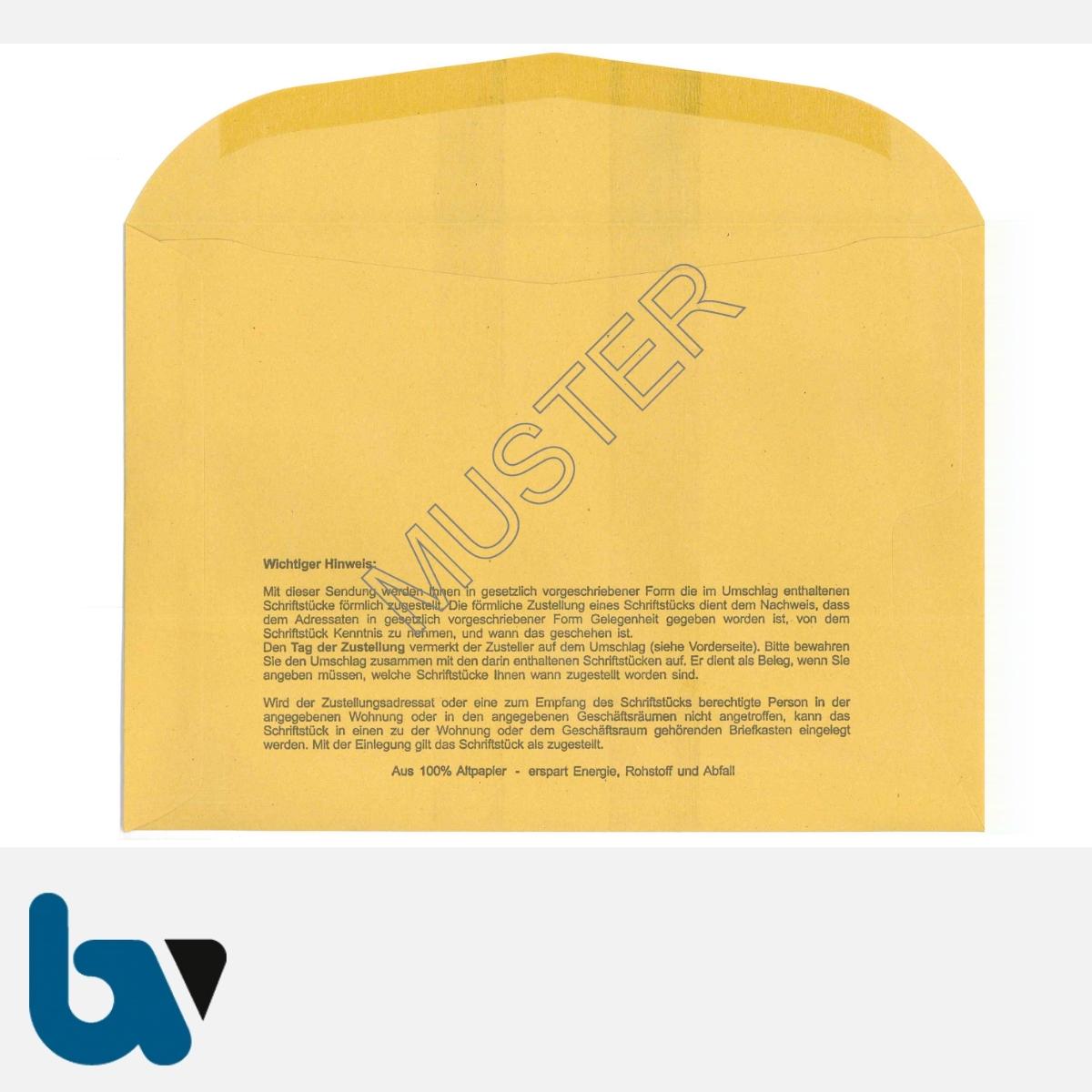 0/101-5 Förmliche Zustellung - Innerer Umschlag, DIN C5, ohne Fenster, nassklebend, Rückseite | Borgard Verlag GmbH