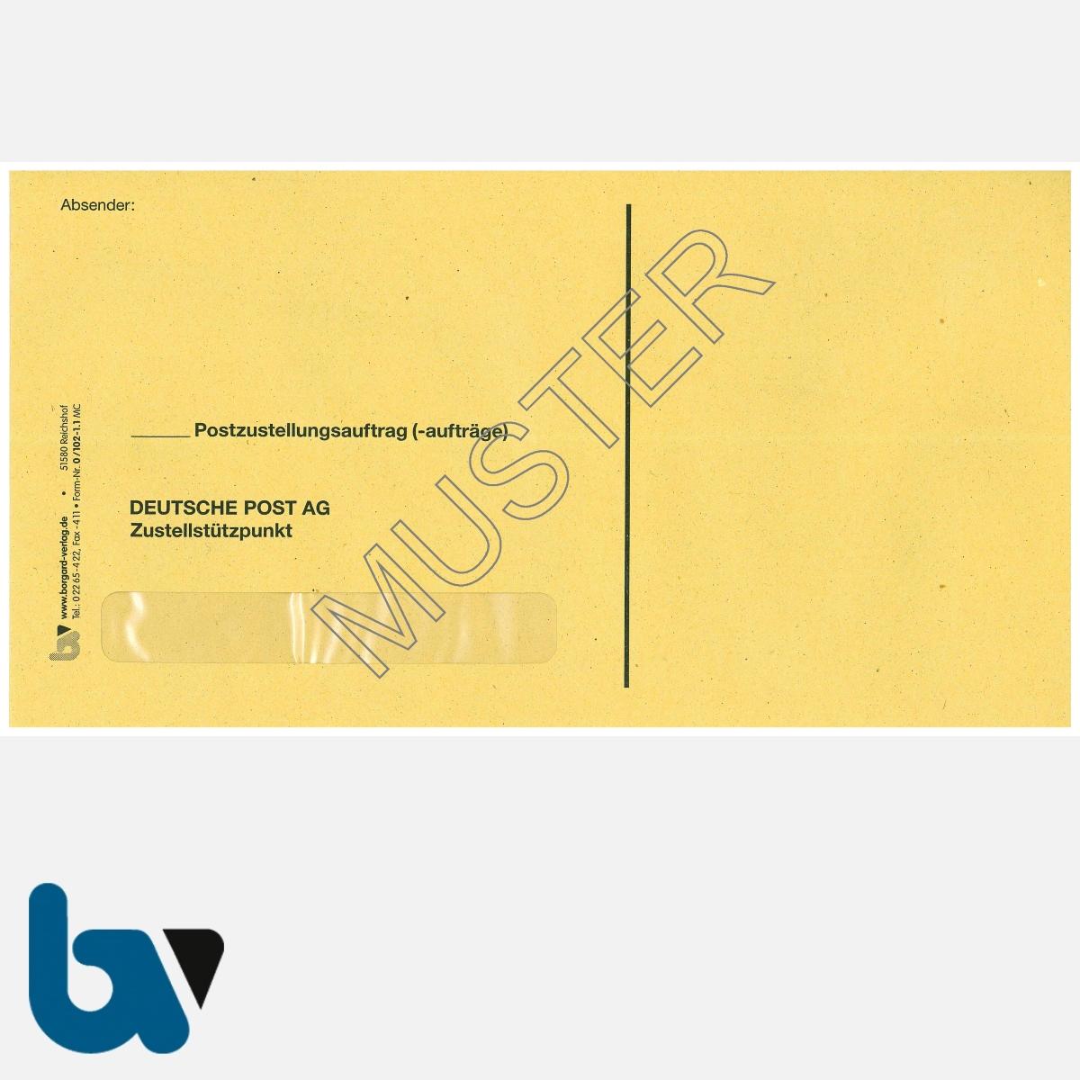 0/102-1.1 Postzustellungsauftrag - Äußerer Umschlag, DIN lang, mit Fenster, nassklebend, Vorderseite | Borgard Verlag GmbH