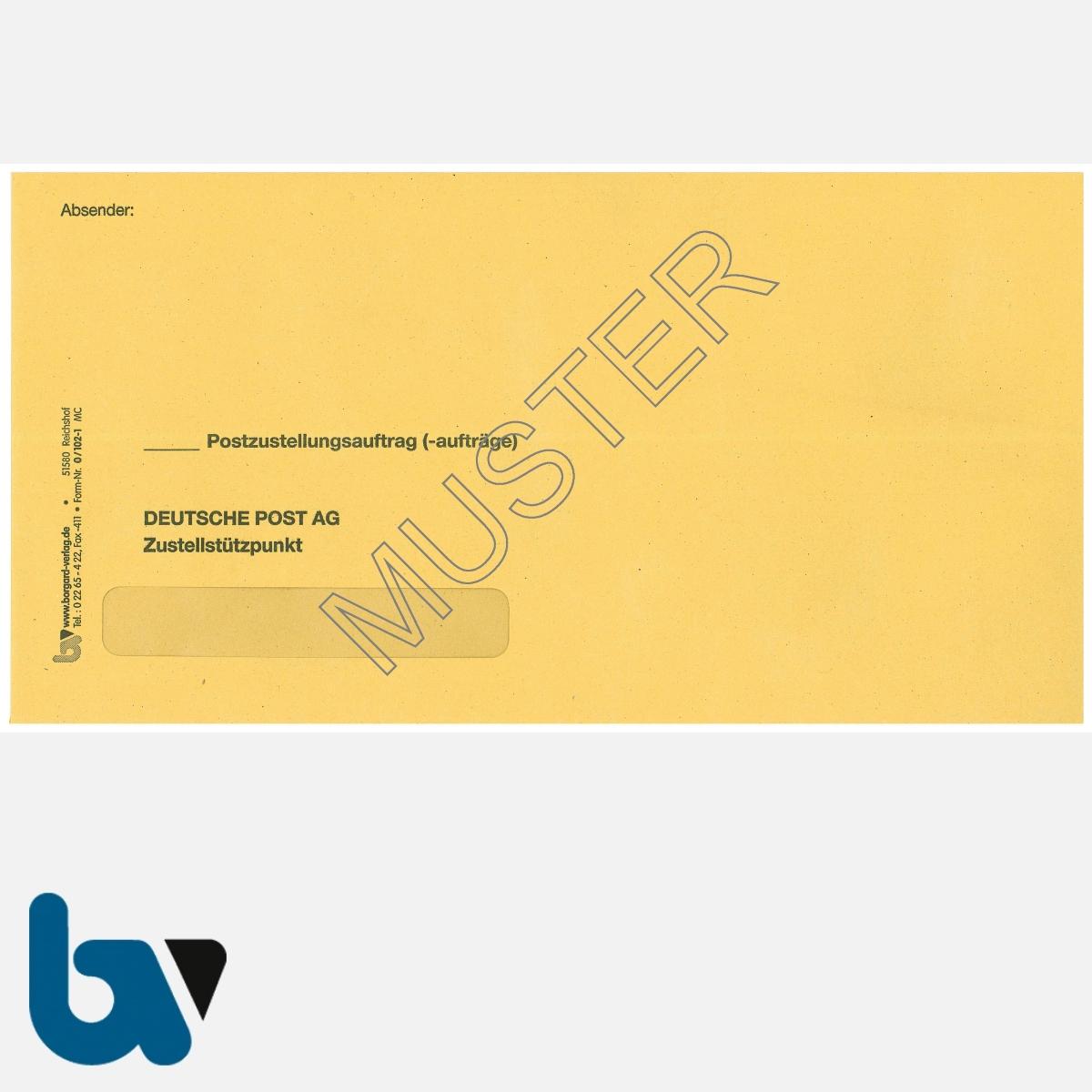 0/102-1 Postzustellungsauftrag - Äußerer Umschlag, DIN lang, mit Fenster, haftklebend, Vorderseite | Borgard Verlag GmbH