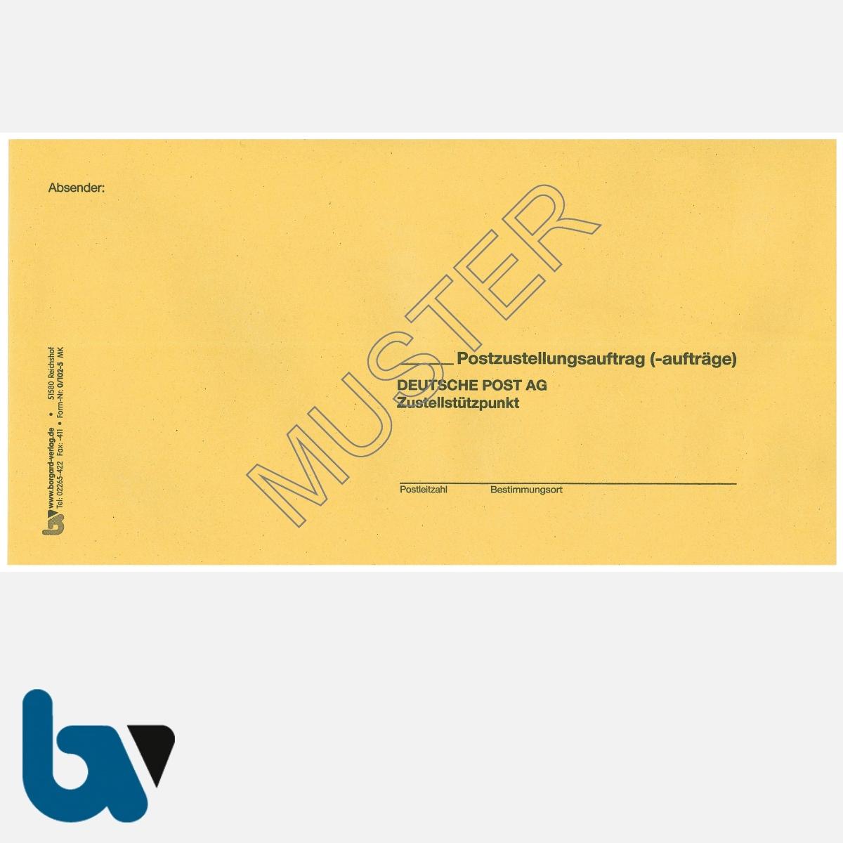 0/102-5 Postzustellungsauftrag - Äußerer Umschlag, DIN lang, ohne Fenster, haftklebend, Vorderseite | Borgard Verlag GmbH