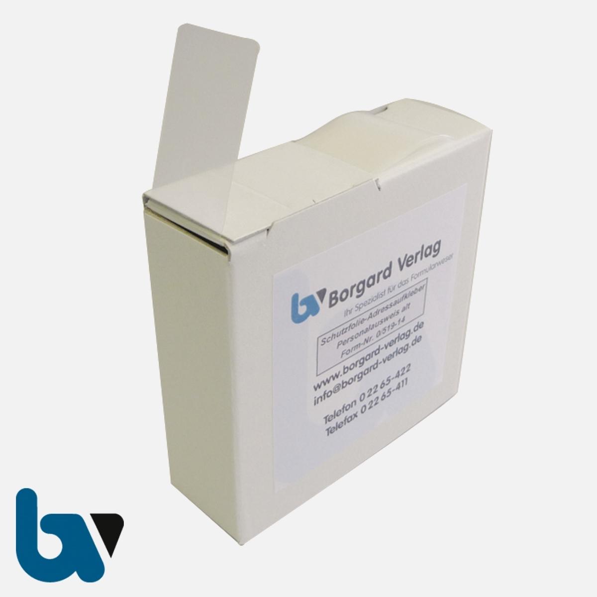 0/519-14 Schutzfolie für Adressaufkleber alter Personalausweis mit Spenderbox | Borgard Verlag GmbH
