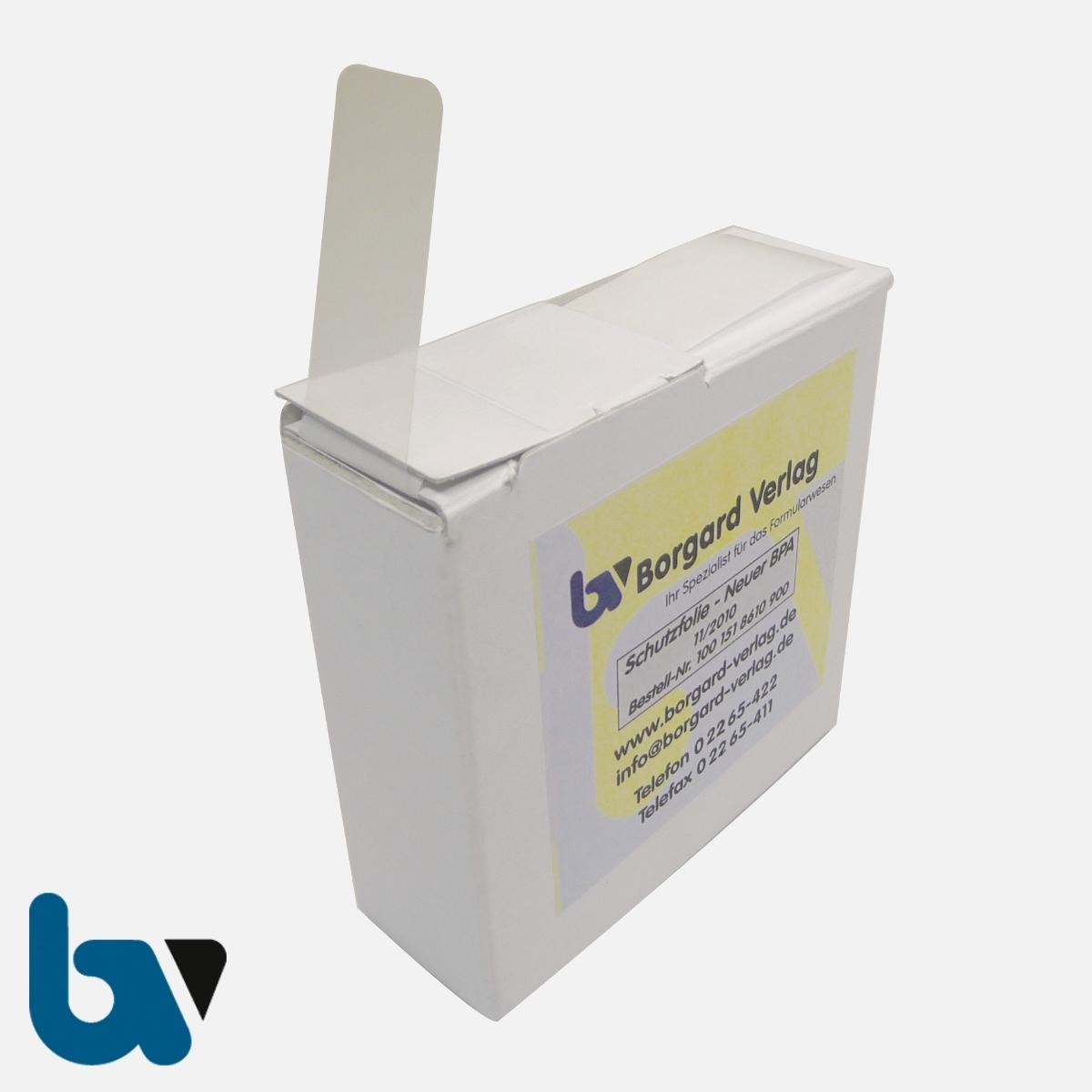 0/519-16 Schutzfolie für Adressaufkleber neuer Personalausweis mit Spenderbox | Borgard Verlag GmbH