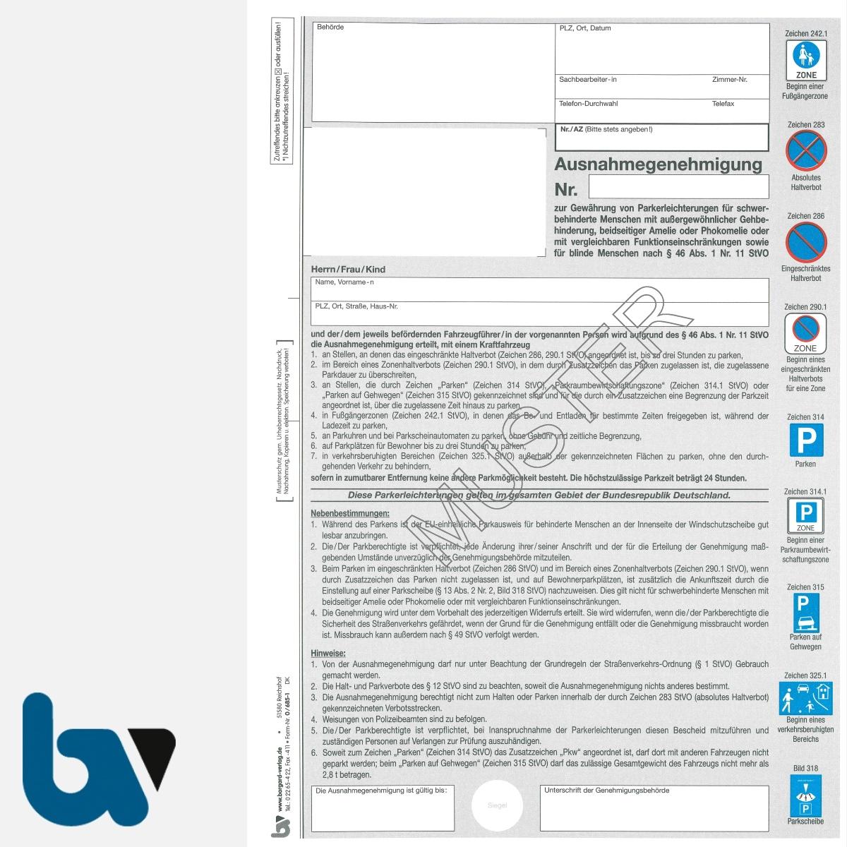 0/685-1 Ausnahmegenehmigung zum Parkausweis Parkerleichterungen EU-Modell europäisch blau Modell behinderte Menschen DIN A4 2-fach mit farbigen Verkehrszeichen | Borgard Verlag GmbH