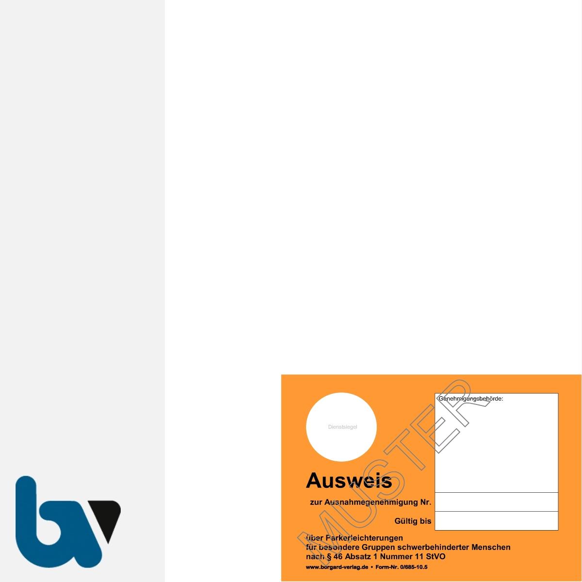 0/685-10.5 Parkausweis zur Ausnahmegenehmigung über Parkerleichterungen BRD orange Modell behinderte Menschen DIN A4 perforiert VS | Borgard Verlag GmbH