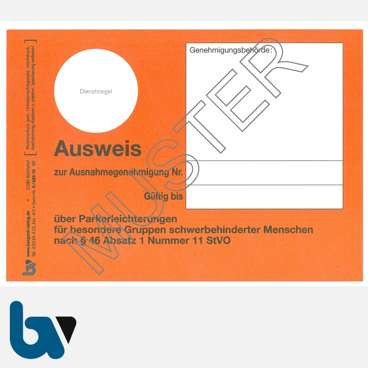 0/685-10 Parkausweis zur Ausnahmegenehmigung über Parkerleichterungen BRD orange Modell behinderte Menschen DIN A6 VS | Borgard Verlag GmbH