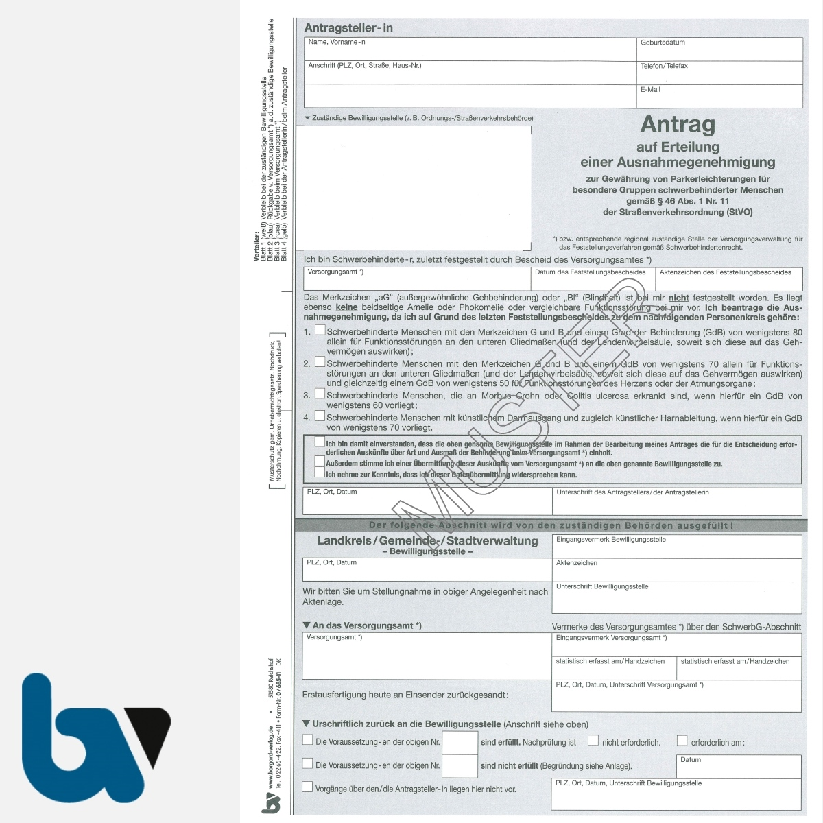 0/685-11 Antrag auf Erteilung einer Ausnahmegenehmigung Parkausweis BRD orange Modell behinderte Menschen Durchschreibesatz DIN A4 4-fach | Borgard Verlag GmbH