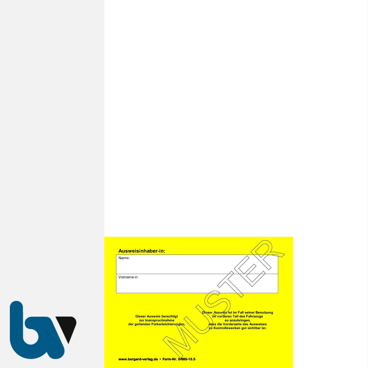 0/685-15.5 Parkausweis zur Ausnahmegenehmigung Parkerleichterungen Sonderregelung RP SH MV gelb Modell behinderte Menschen DIN A4 perforiert RS | Borgard Verlag GmbH