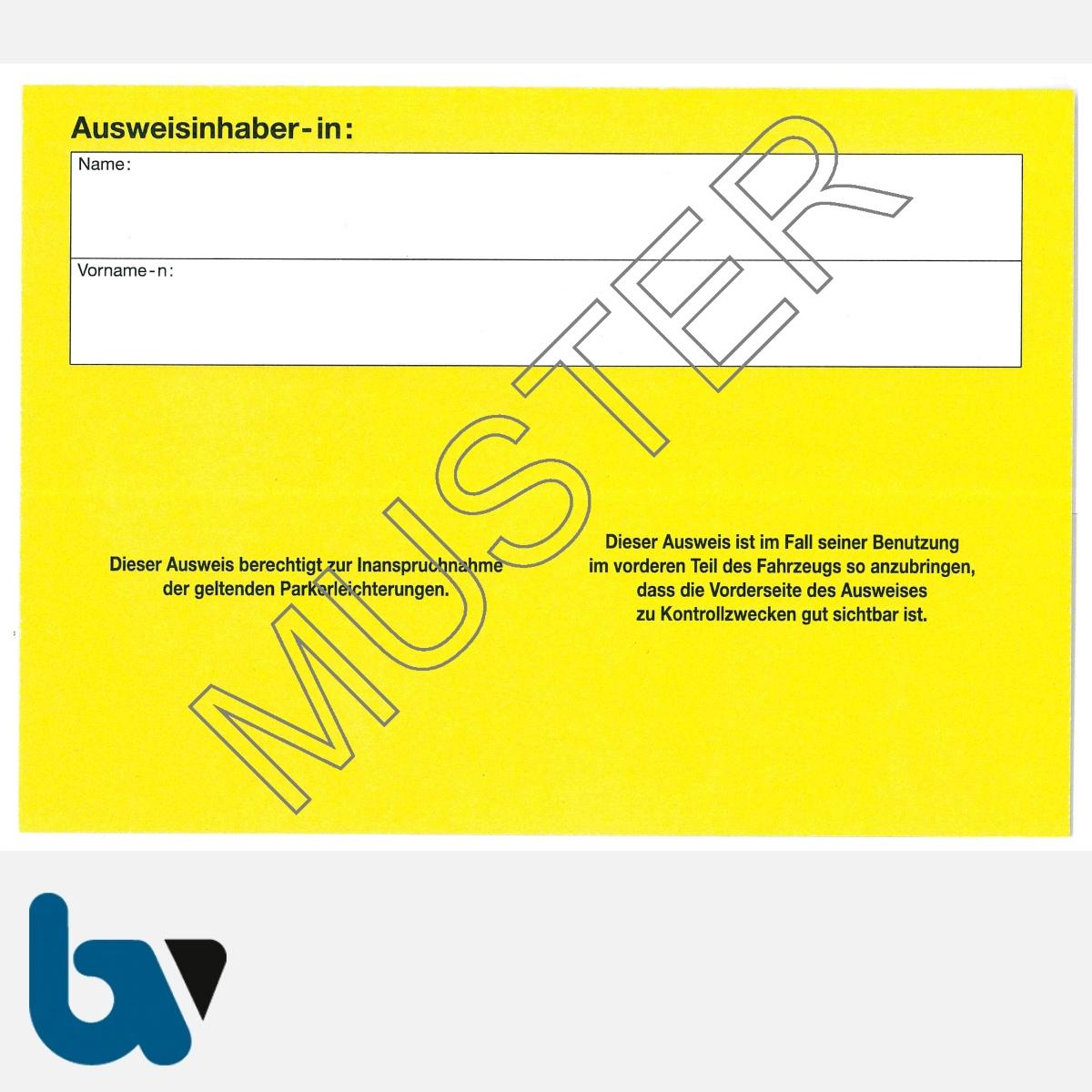 0/685-15 Parkausweis zur Ausnahmegenehmigung Parkerleichterungen Sonderregelung RP SH MV gelb Modell behinderte Menschen DIN A6 RS | Borgard Verlag GmbH