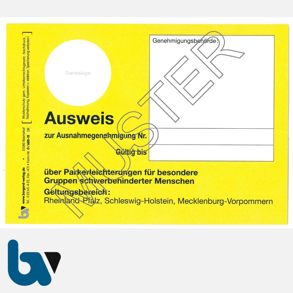 0/685-15 Parkausweis zur Ausnahmegenehmigung Parkerleichterungen Sonderregelung RP SH MV gelb Modell behinderte Menschen DIN A6 VS | Borgard Verlag GmbH
