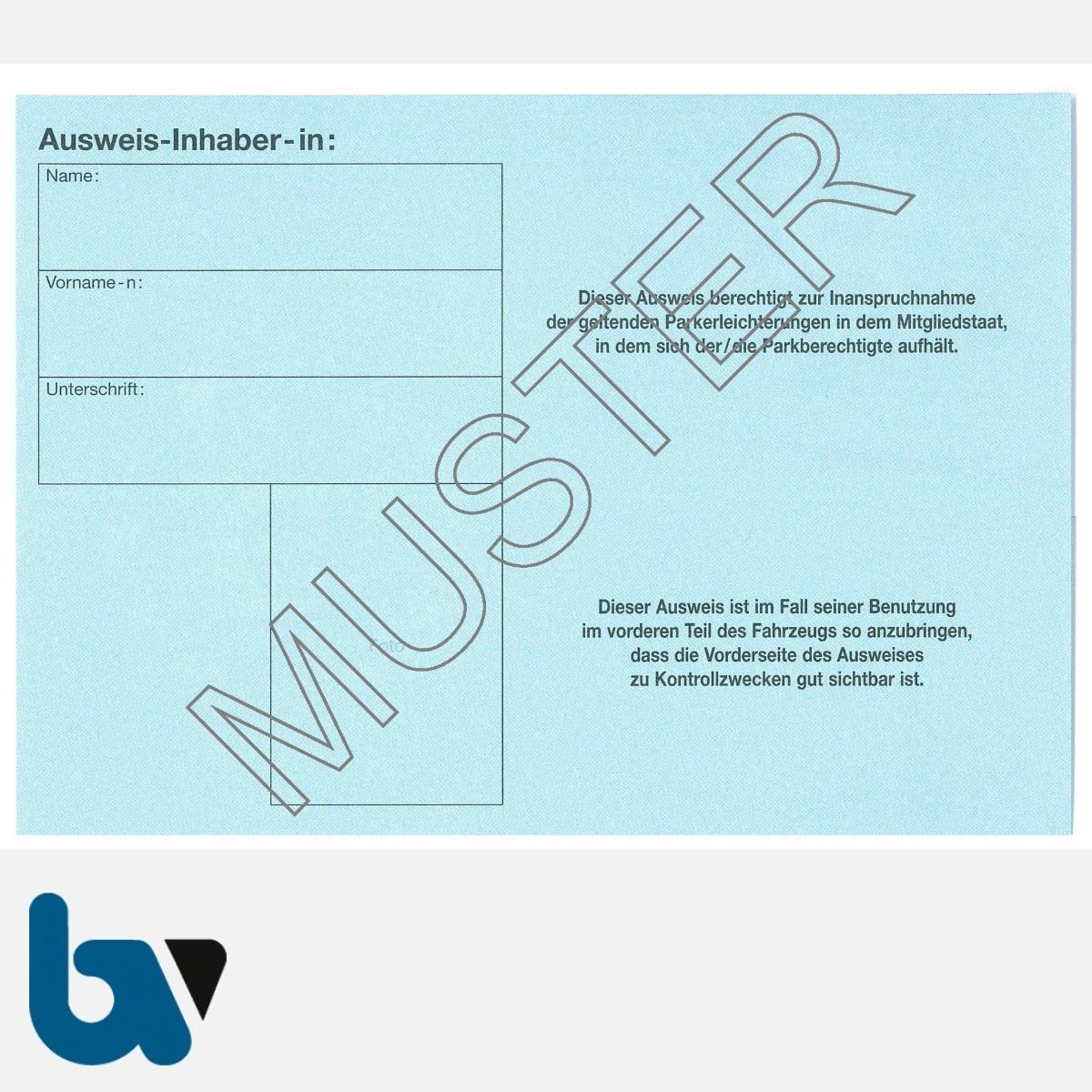 0/685-5.1 EU-einheitlicher Parkausweis Ausnahmegenehmigung Parkerleichterungen europäisch blau Modell behinderte Menschen leicht DIN A6 RS | Borgard Verlag GmbH