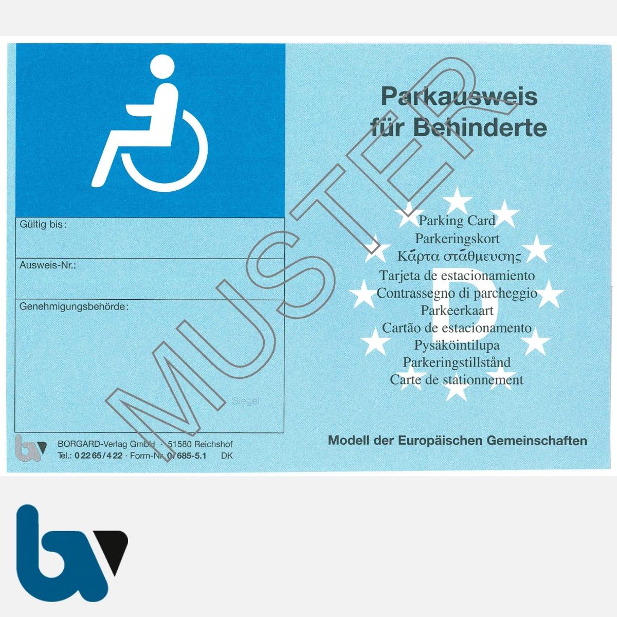 0/685-5.1 EU-einheitlicher Parkausweis Ausnahmegenehmigung Parkerleichterungen europäisch blau Modell behinderte Menschen leicht DIN A6 VS | Borgard Verlag GmbH