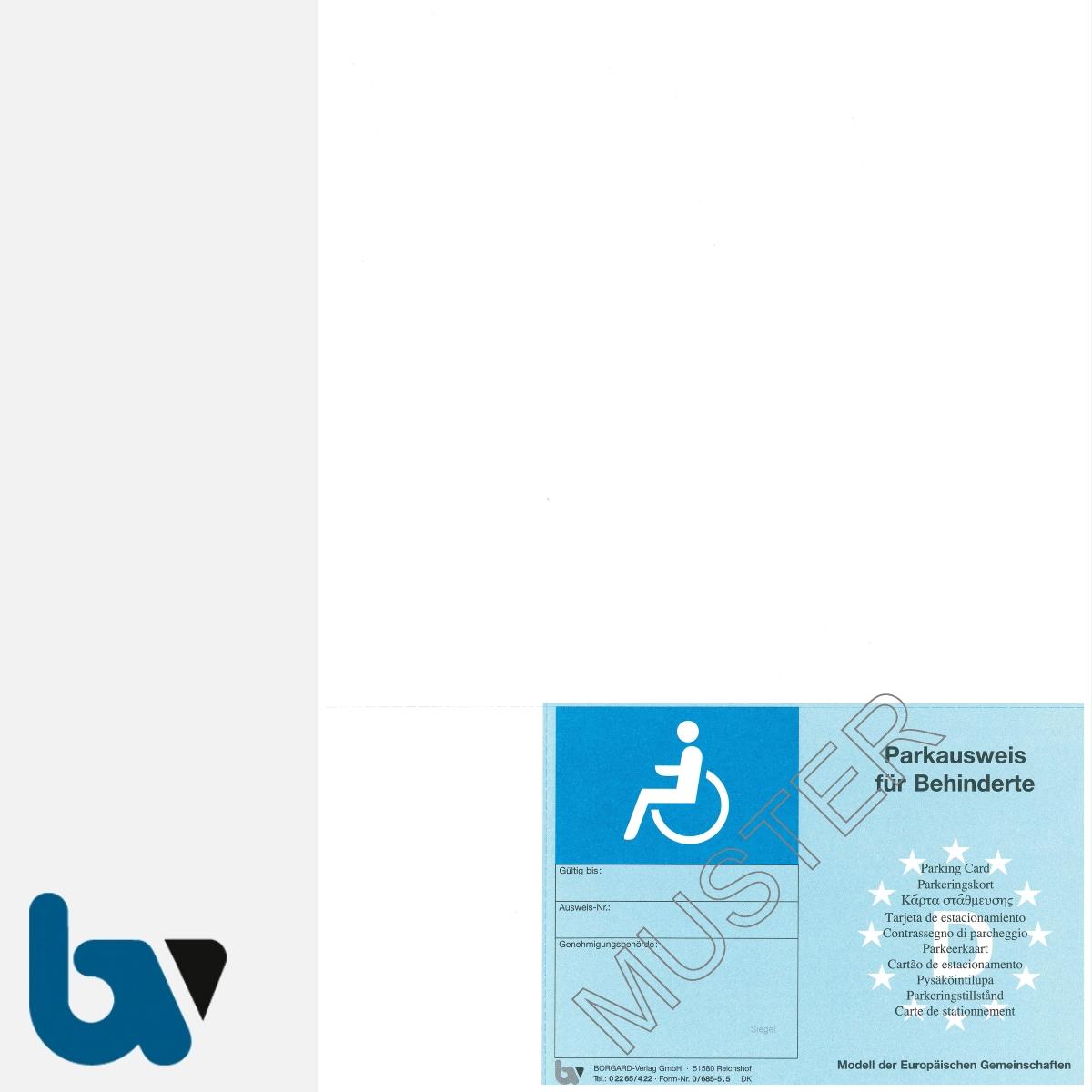0/685-5.5 EU-einheitlicher Parkausweis Ausnahmegenehmigung Parkerleichterungen europäisch blau Modell behinderte Menschen perforiert zum Abtrennen DIN A4 VS | Borgard Verlag GmbH