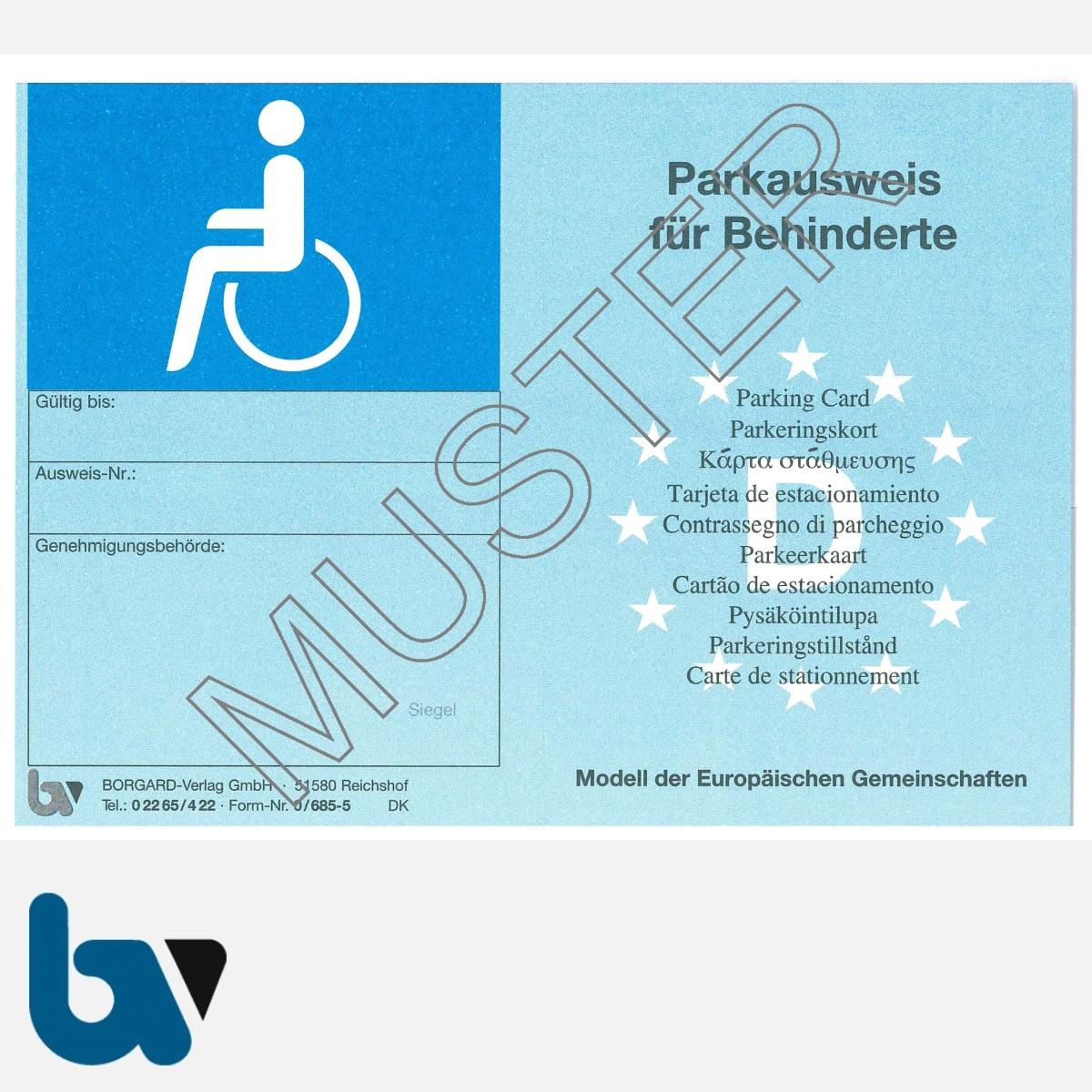 0/685-5 EU-einheitlicher Parkausweis Ausnahmegenehmigung Parkerleichterungen europäisch blau Modell behinderte Menschen stabil DIN A6 VS | Borgard Verlag GmbH