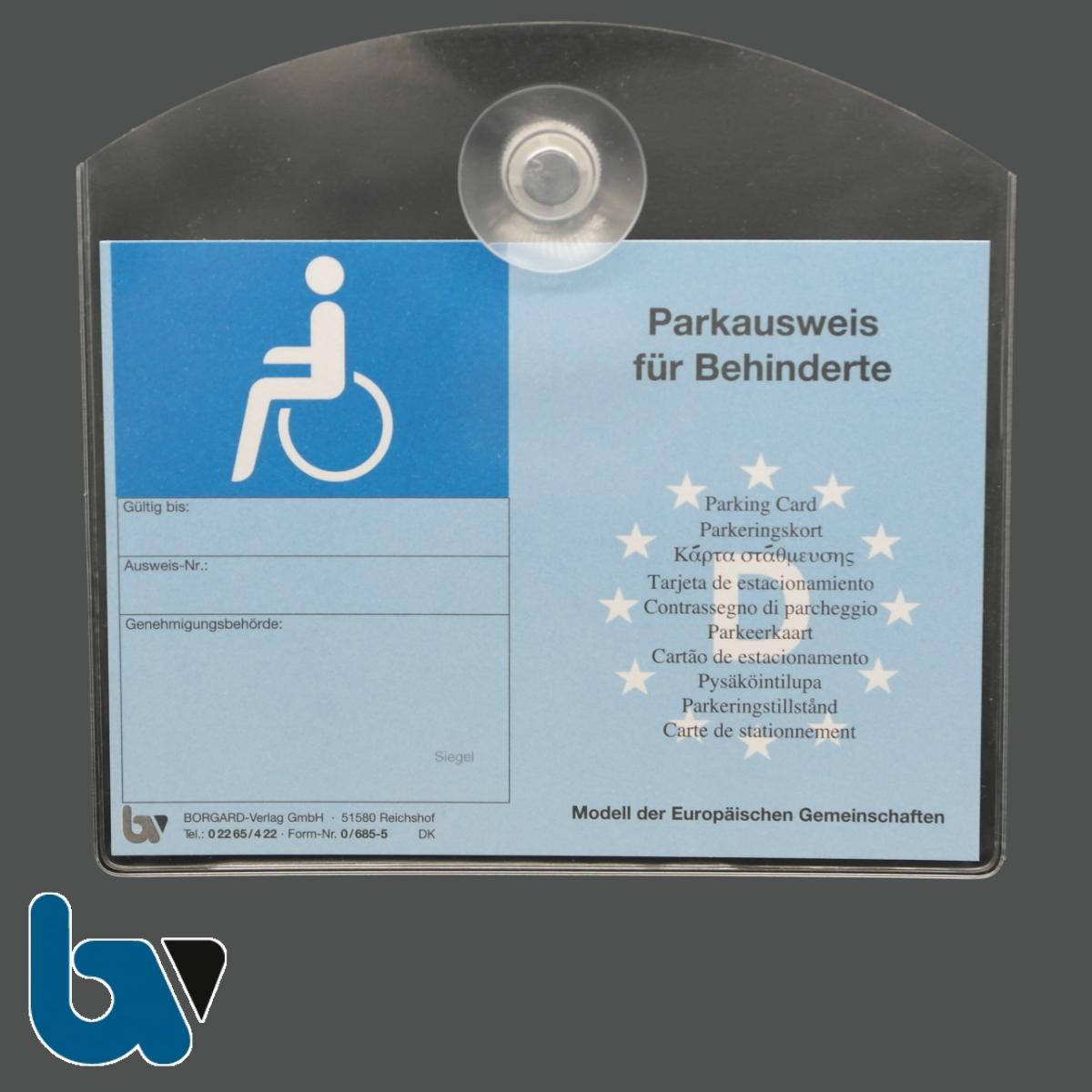 0/685-8.3 und 0/685-5 Ausweishülle mit Saugnapf für Parkausweis EU europäisch blau Modell behinderte Menschen DIN A6 | Borgard Verlag GmbH