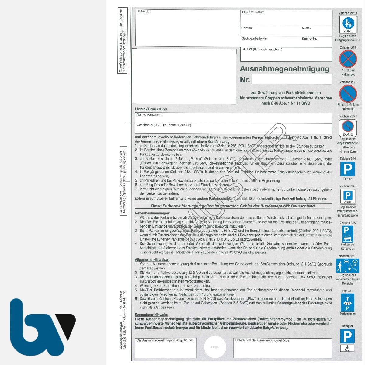 0/685-9 Ausnahmegenehmigung zum Parkausweis BRD orange Modell behinderte Menschen Durchschreibesatz DIN A4 2-fach mit farbigen Verkehrszeichen | Borgard Verlag GmbH