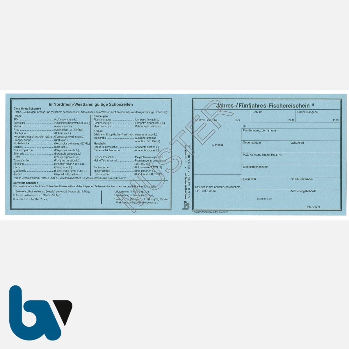 1/456-1 Jahresfischereischein Fünfjahresfischereischein NRW Nordrhein-Westfalen blau Neobond Muster VS | Borgard Verlag GmbH