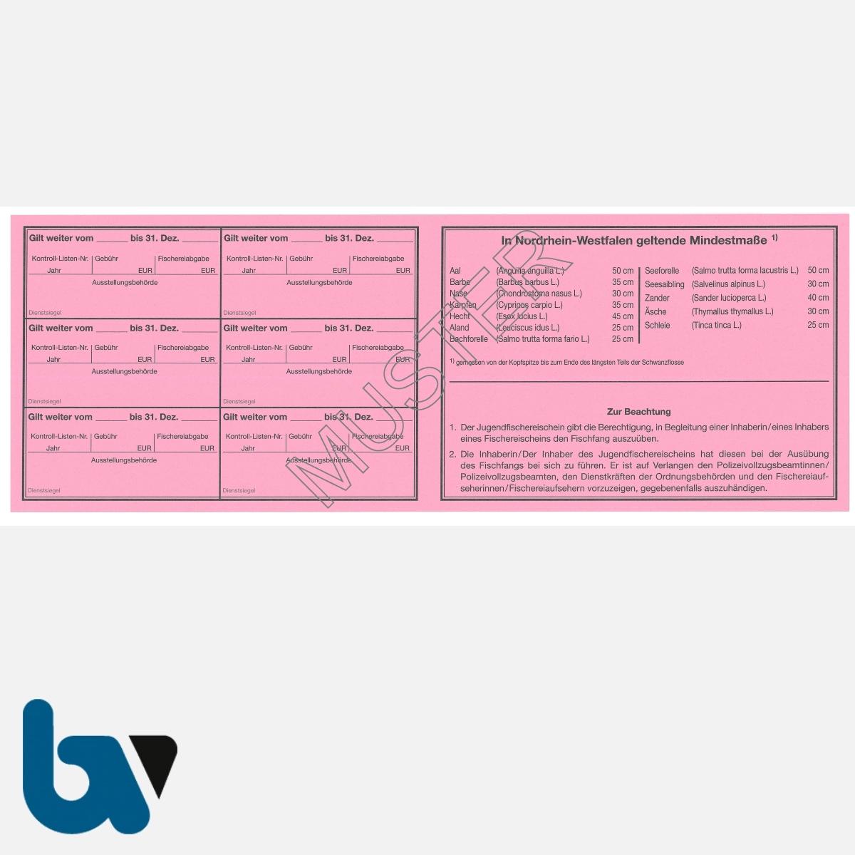 1/456-2 Jugendfischereischein NRW Nordrhein-Westfalen rosa Neobond Muster RS | Borgard Verlag GmbH