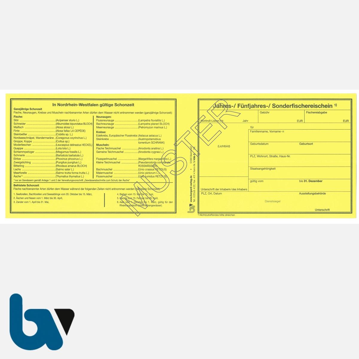 1/456-3 Sonderfischereischein NRW Nordrhein-Westfalen gelb Neobond Muster VS | Borgard Verlag GmbH