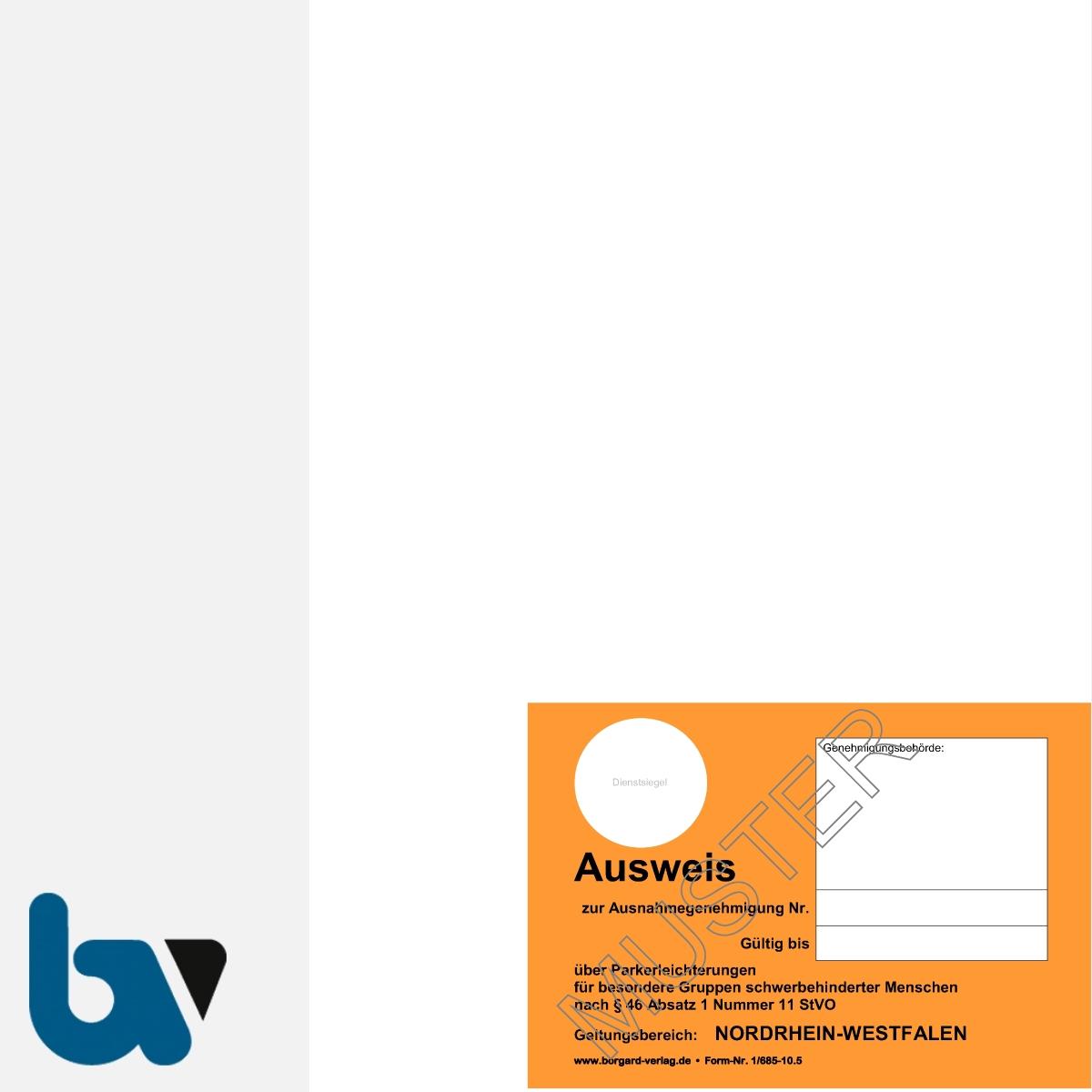 1/685-10.5 Parkausweis zur Ausnahmegenehmigung über Parkerleichterungen NRW orange Modell behinderte menschen DIN A4 orange perforiert VS   Borgard Verlag GmbH