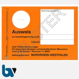 1/685-10 Parkausweis zur Ausnahmegenehmigung über Parkerleichterungen NRW orange Modell behinderte Menschen DIN A6 orange VS | Borgard Verlag GmbH