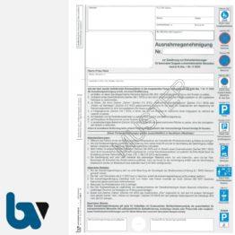 1/685-9 Ausnahmegenehmigung zum NRW Parkausweis Durchschreibesatz DIN A4 2-fach mit farbigen Verkehrszeichen | Borgard Verlag GmbH