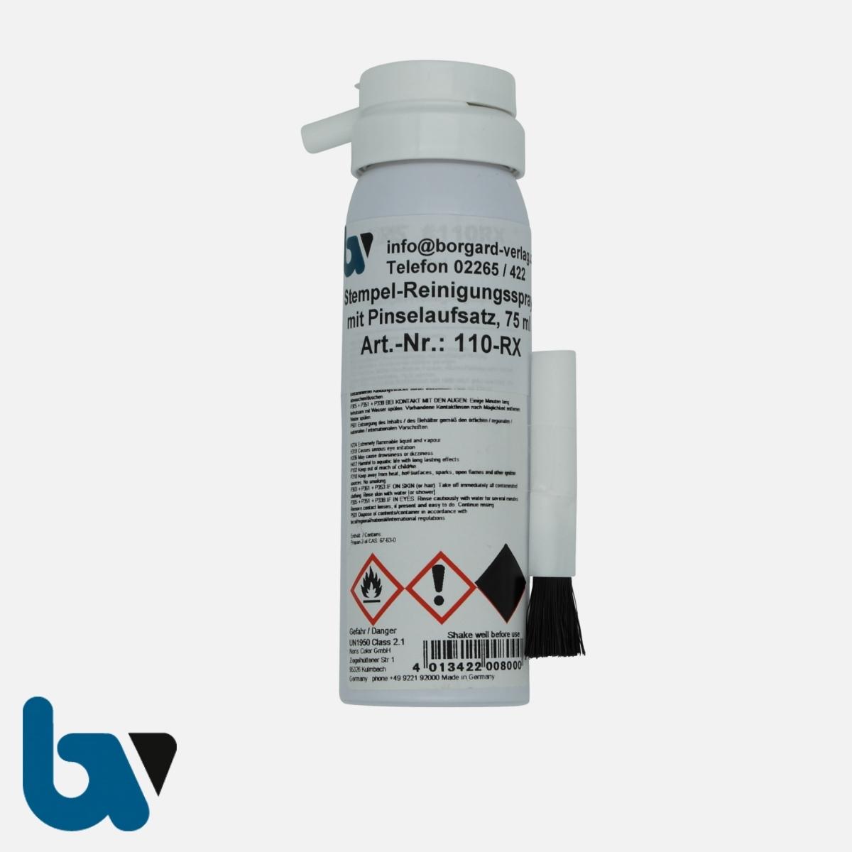 110-RX High-Speed-Stempelfarbe Stempel-Reiniger Reinigungsspray Pinsel 75ml   Borgard Verlag GmbH