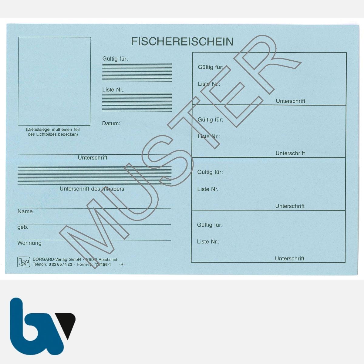 13/456-1 Fischereischein Thüringen blau Neobond Muster VS   Borgard Verlag GmbH