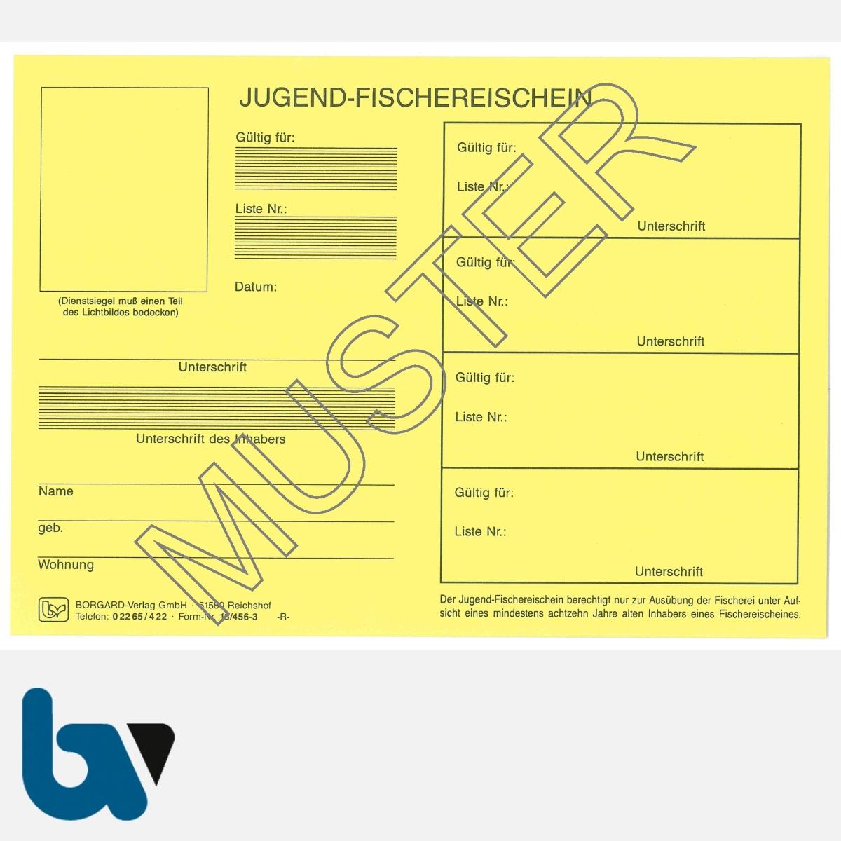 13/456-3 Jugendfischereischein Thüringen gelb Neobond Muster VS   Borgard Verlag GmbH