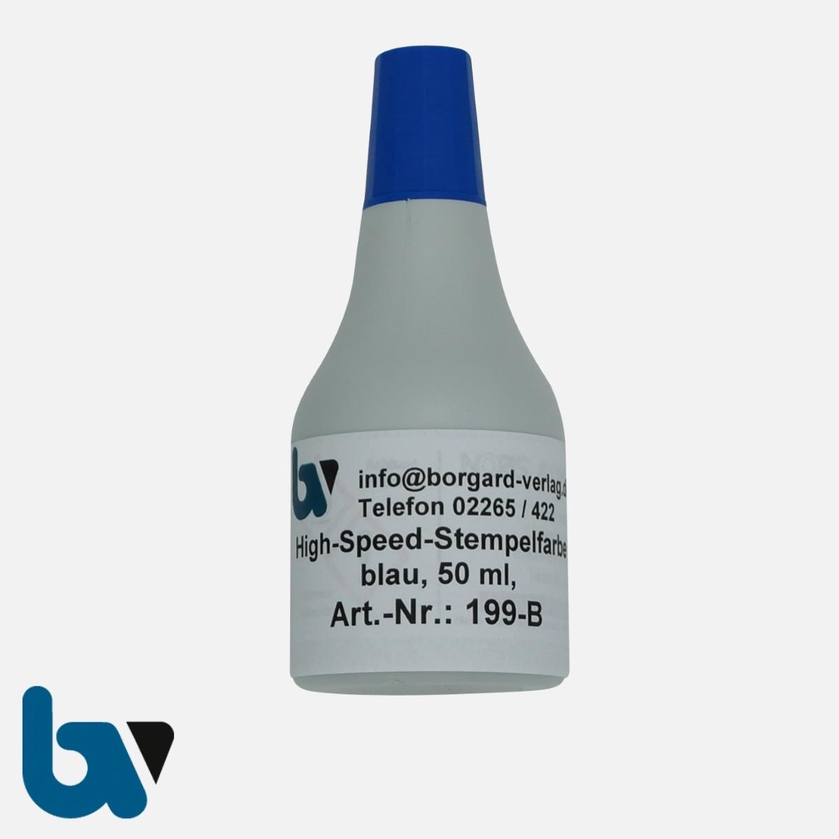 199-B High-Speed-Stempelfarbe blau schnelltrocknend 50ml | Borgard Verlag GmbH
