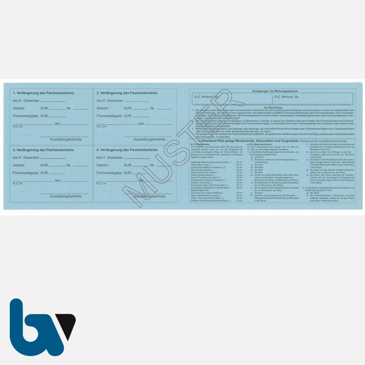 2/456-1 Fischereischein RLP Rheinland-Pfalz blau Neobond Muster RS | Borgard Verlag GmbH