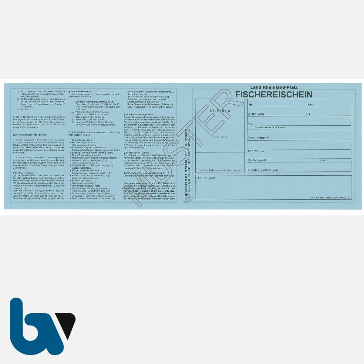 2/456-1 Fischereischein RLP Rheinland-Pfalz blau Neobond Muster VS | Borgard Verlag GmbH
