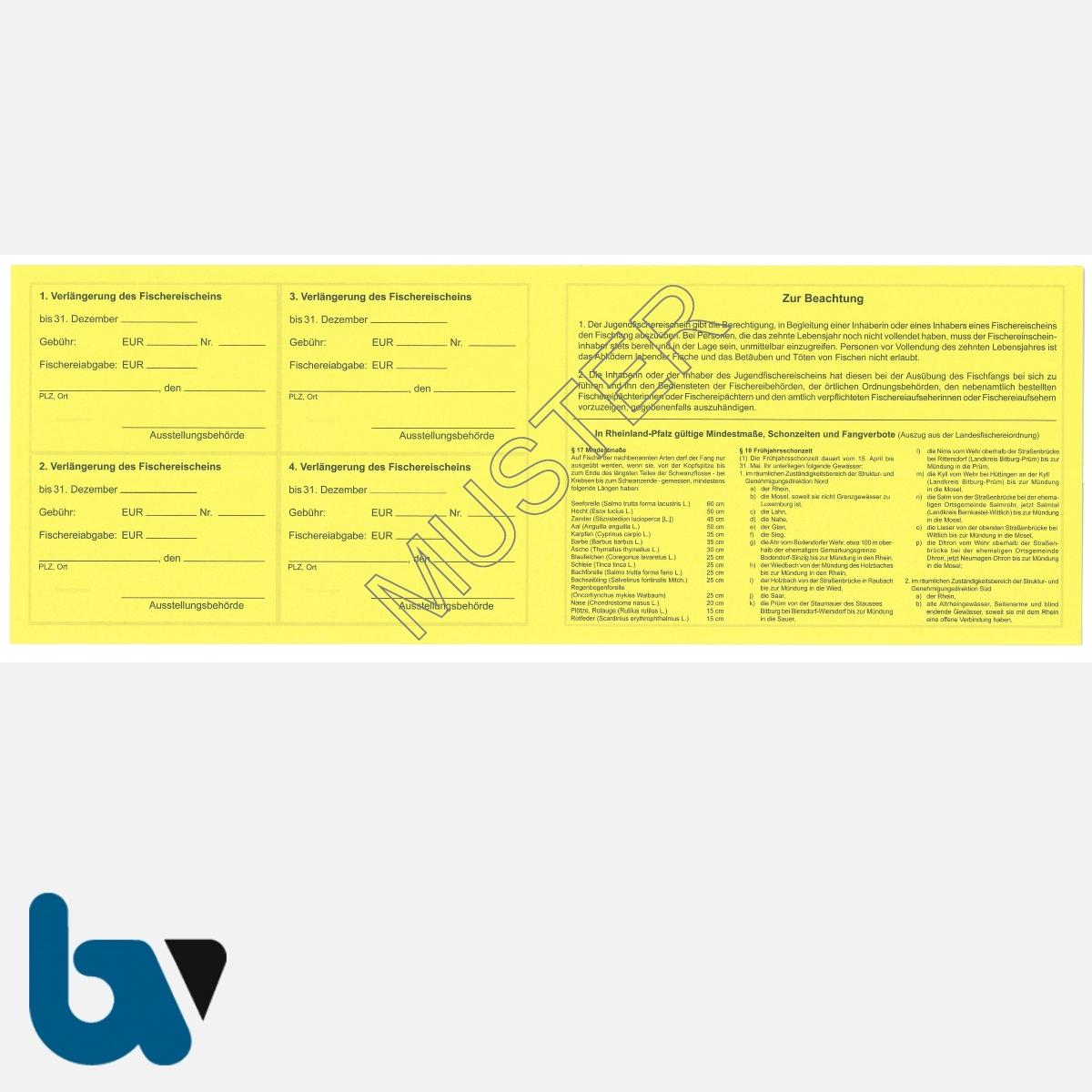 2/456-2 Jugendfischereischein RLP Rheinland Pfalz gelb Neobond Muster RS | Borgard Verlag GmbH