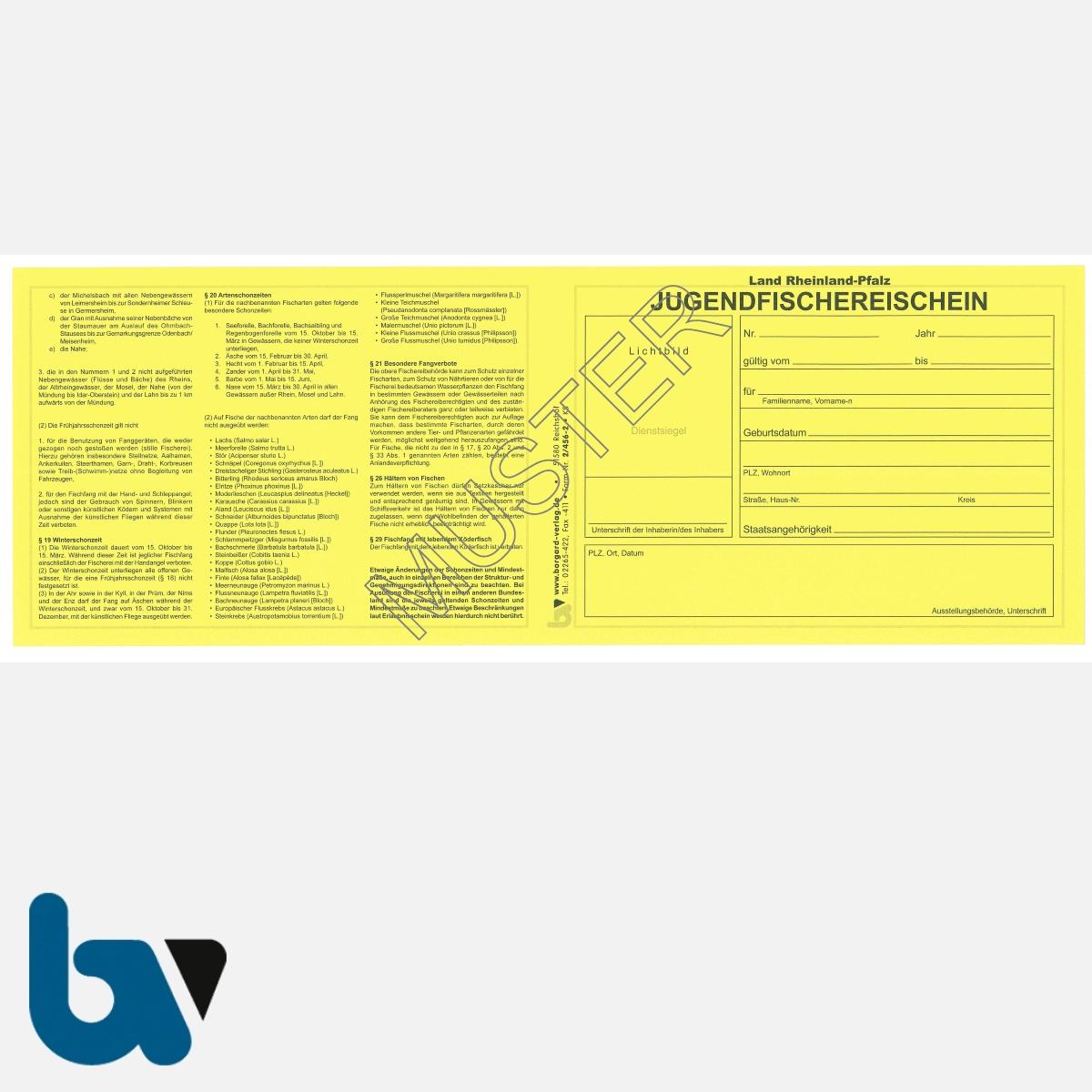 2/456-2 Jugendfischereischein RLP Rheinland-Pfalz gelb Neobond Muster VS | Borgard Verlag GmbH