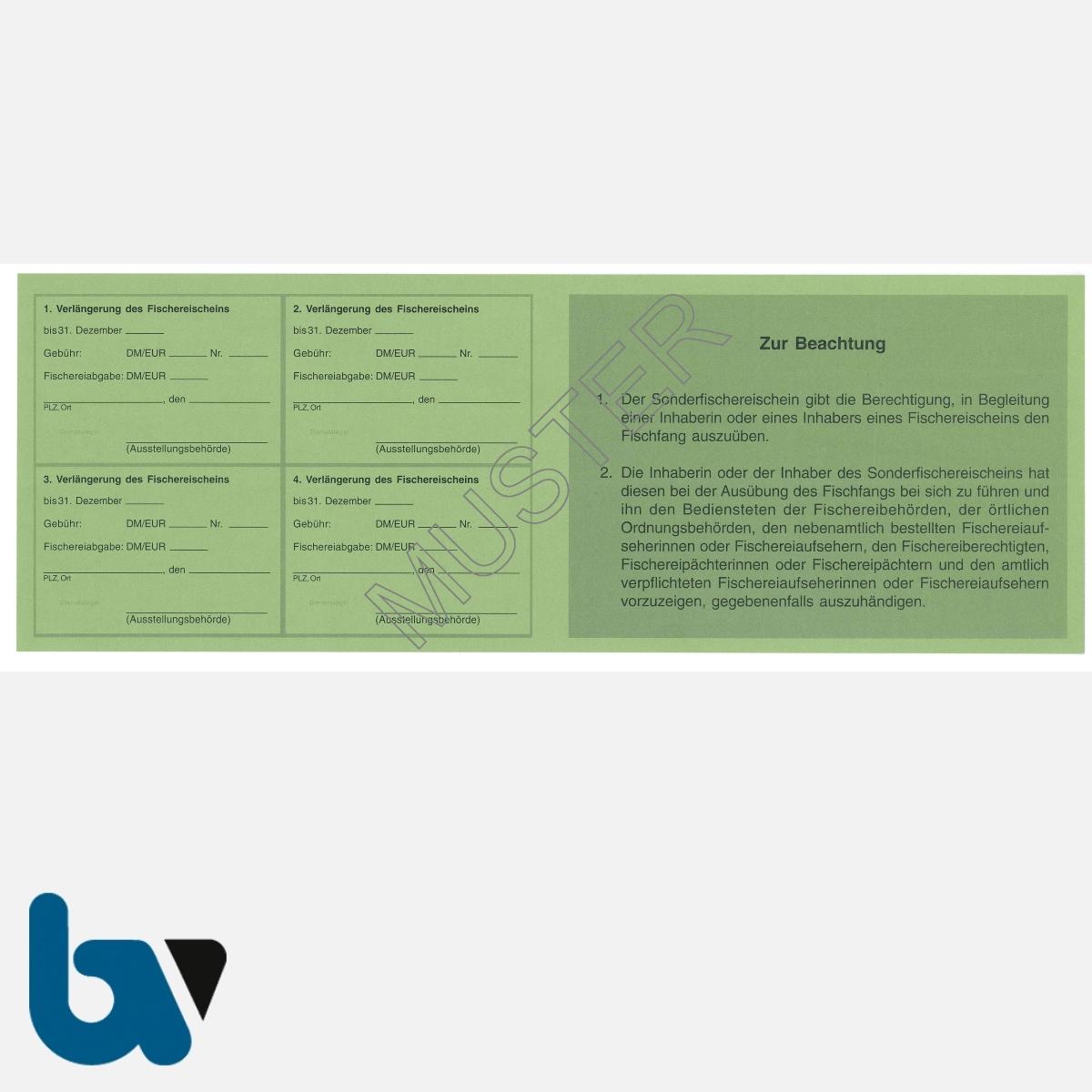 2/456-3 Sonderfischereischein RLP Rheinland-Pfalz grün Neobond Muster RS | Borgard Verlag GmbH