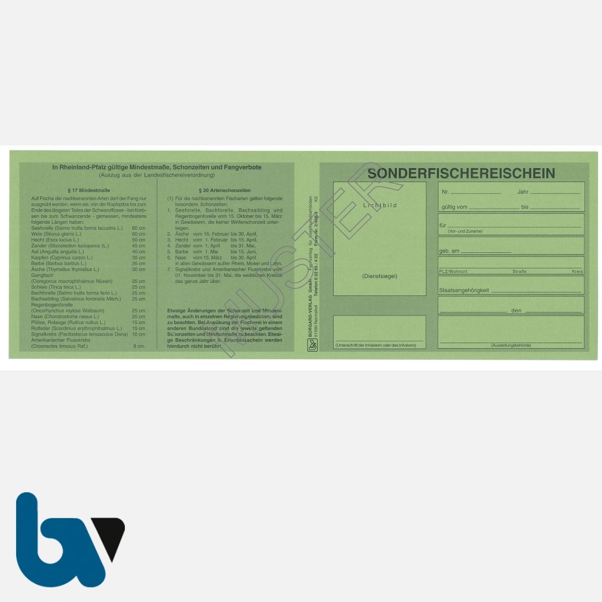 2/456-3 Sonderfischereischein RLP Rheinland-Pfalz grün Neobond Muster VS | Borgard Verlag GmbH