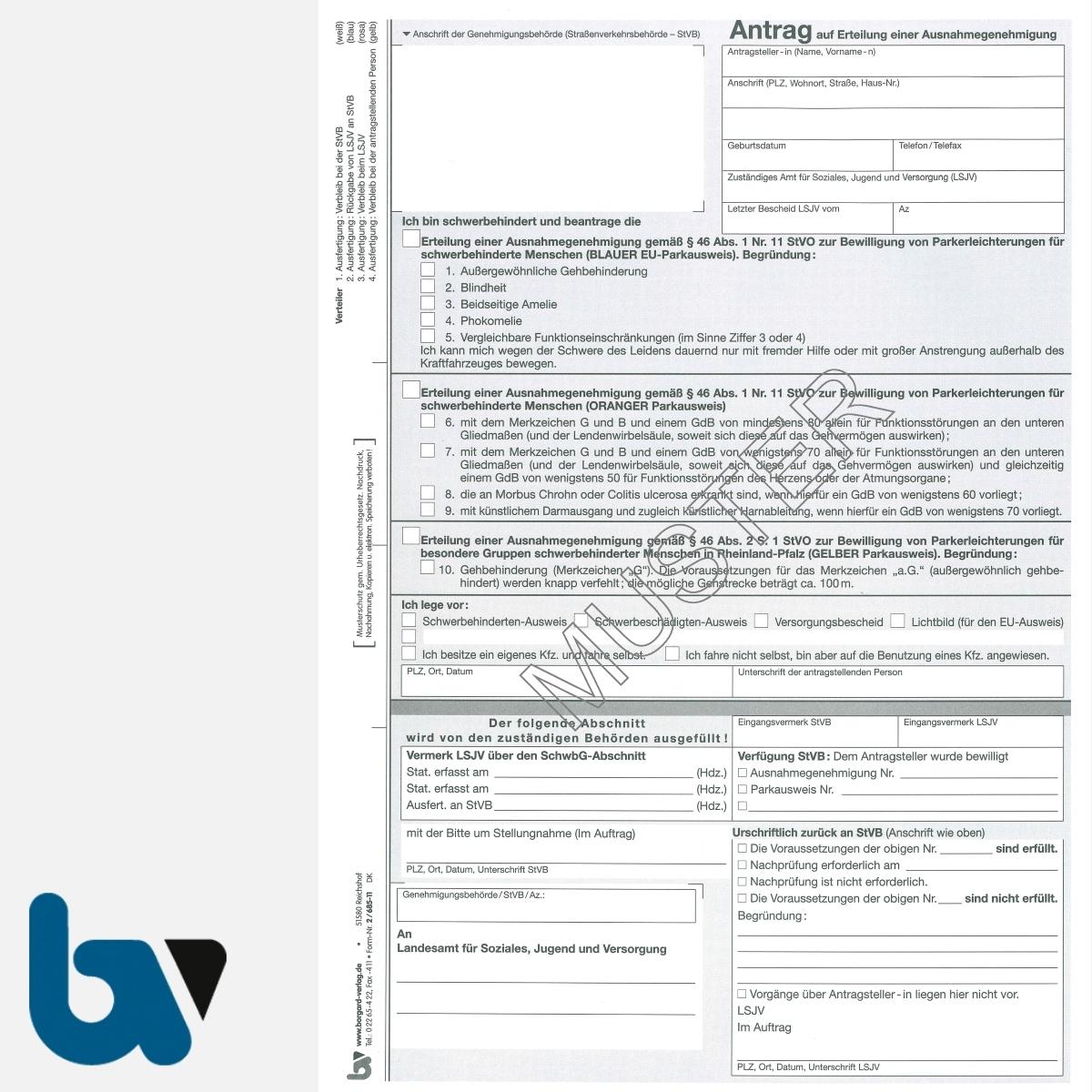 2/685-11 Antrag auf Erteilung einer Ausnahmegenehmigung Parkausweis Parkerleichterungen Sonderregelung RP SH MV gelb Modell behinderte Menschen DIN A4 4-fach   Borgard Verlag GmbH