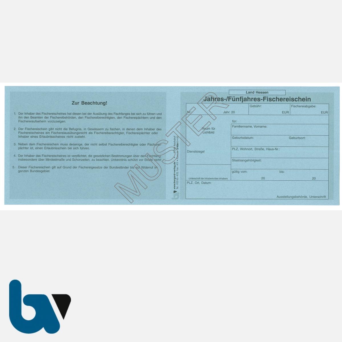 3/456-1 Jahresfischereischein Fünfjahresfischereischein Hessen blau Neobond Muster VS | Borgard Verlag GmbH