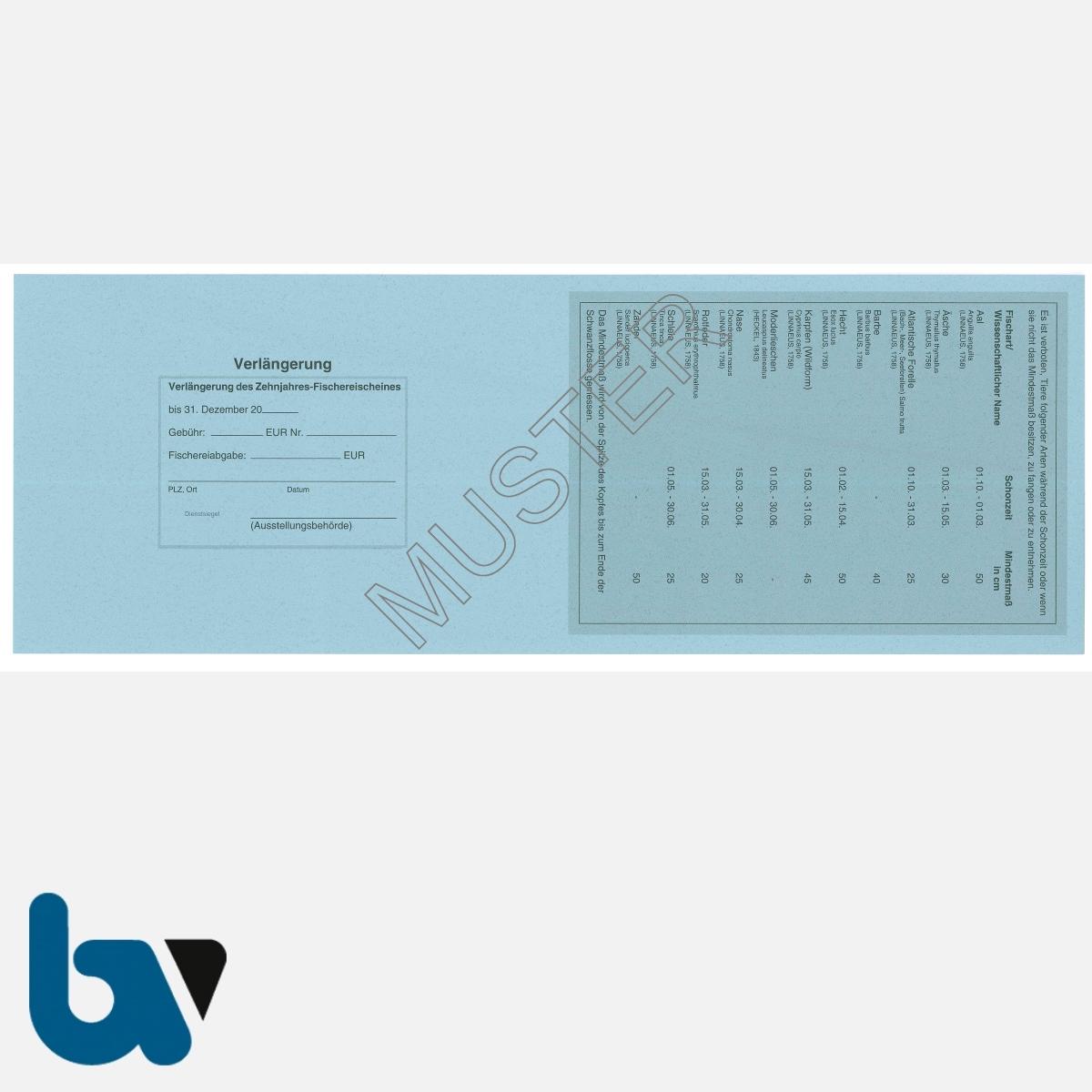 3/456-2 Zehnjahresfischereischein Hessen blau Neobond Muster RS | Borgard Verlag GmbH