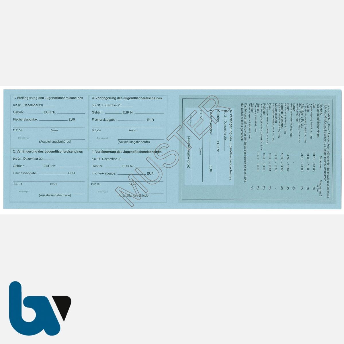 3/456-3 Jugendfischereischein Hessen blau Neobond Muster RS | Borgard Verlag GmbH