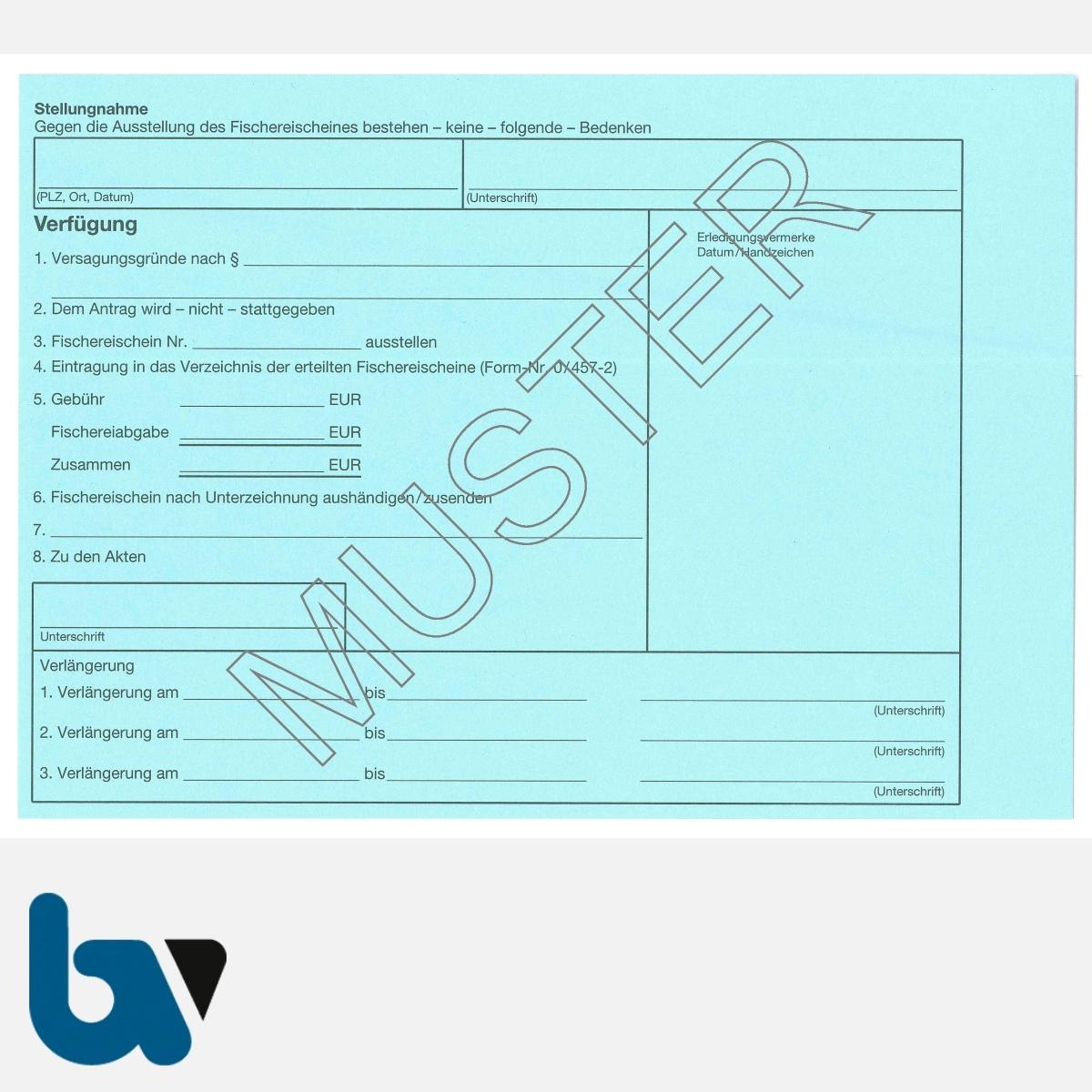 4/455-1 Karteikarte Erteilung Verlängerung Fischereischein blau DIN A5 RS   Borgard Verlag GmbH