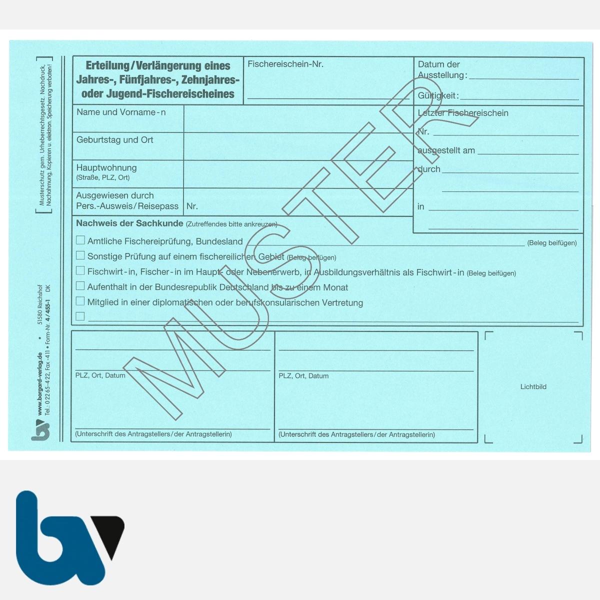 4/455-1 Karteikarte Erteilung Verlängerung Fischereischein blau DIN A5 VS   Borgard Verlag GmbH