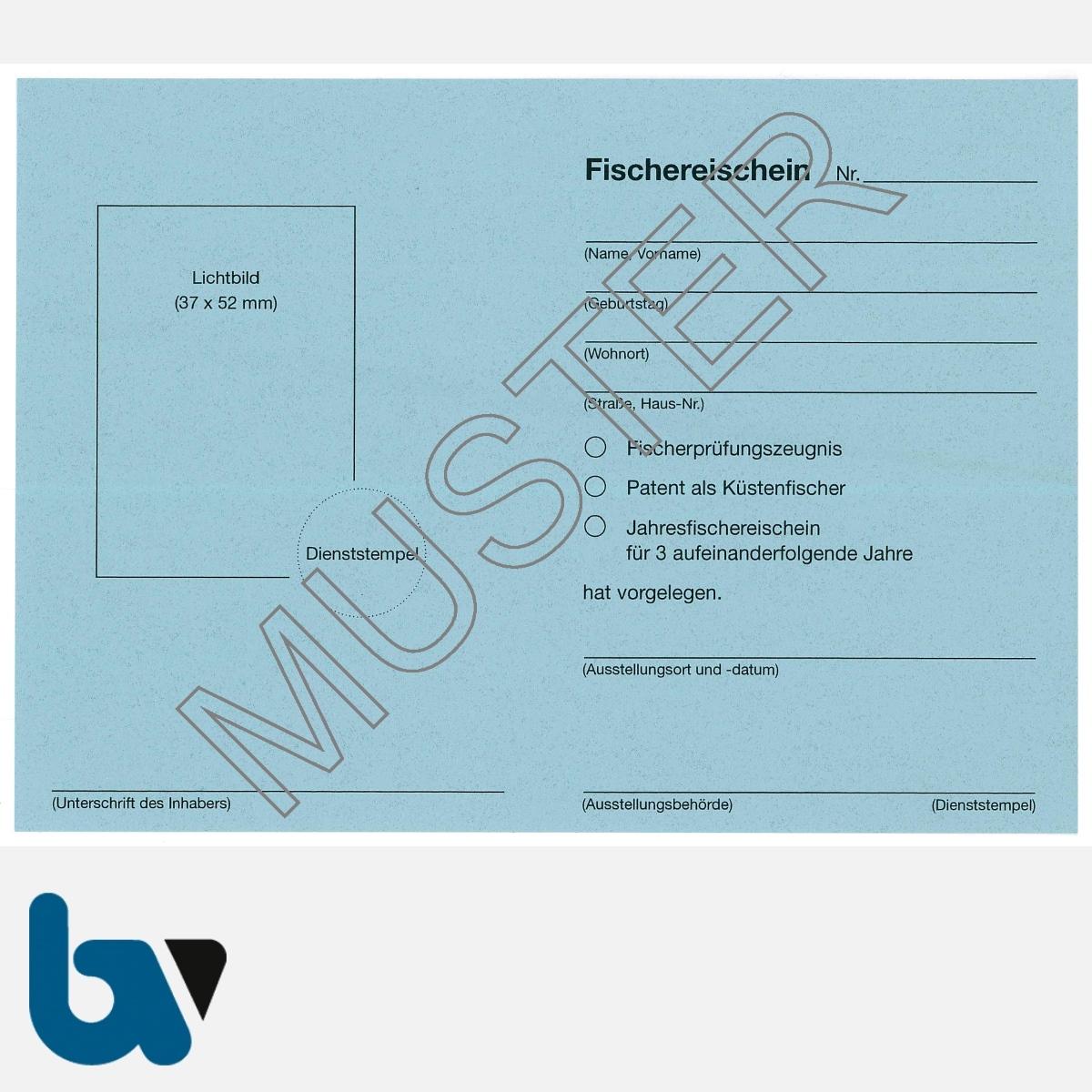 4/456-1 Fischereischein Niedersachsen blau Neobond Muster RS | Borgard Verlag GmbH